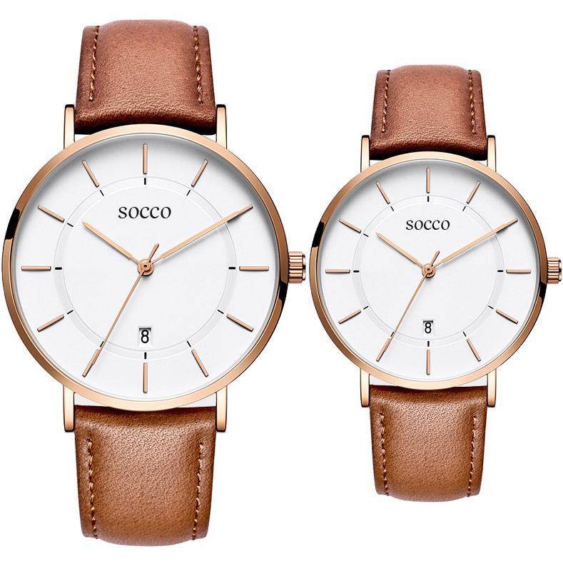 SOCCO轻奢爱情手表 同心圆情侣手表 送女友送男友 送给爱的人